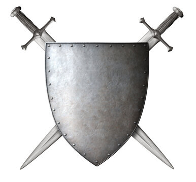 medieval knight shield and crossed swords isolated 3d illustration