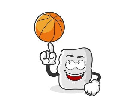 Character marshmello by basketball cartoon