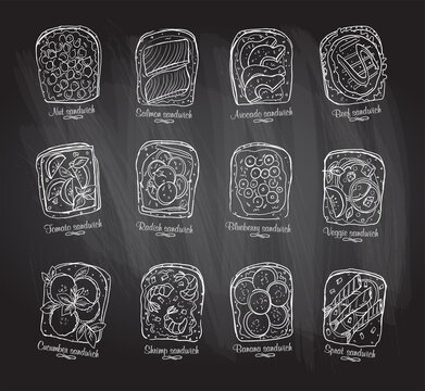 Chalkboard illustration of assorted sandwiches
