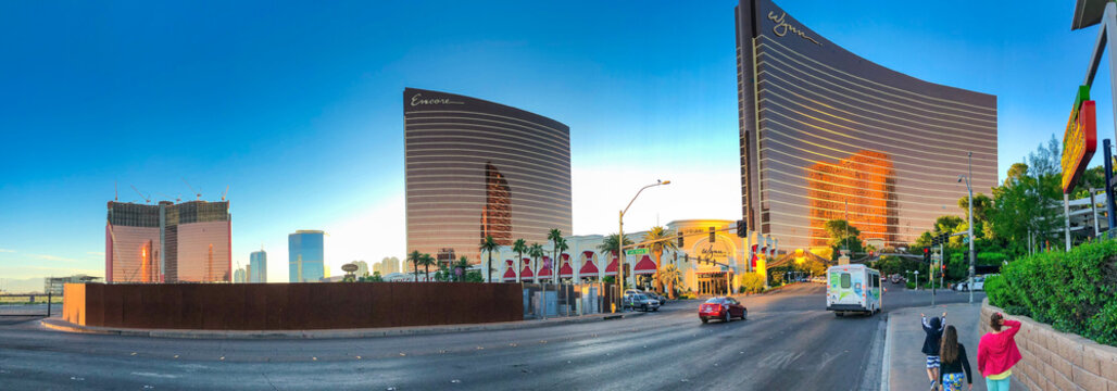 LAS VEGAS - JUNE 26, 2019: Exterior of Wynn Casino Hotel - Panoramic view