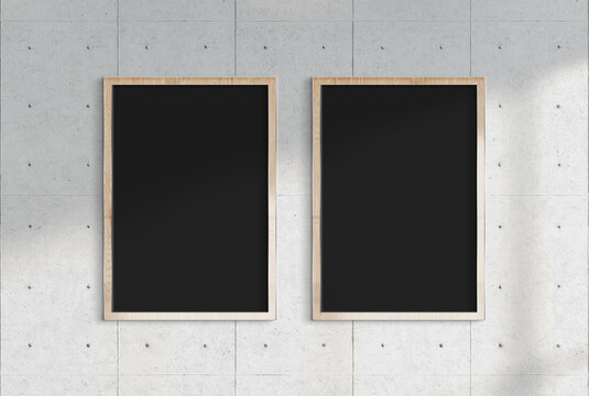 Two billboards hanging on a sunlit wall mockup. Template of frames bathed in sunlight 3D rendering