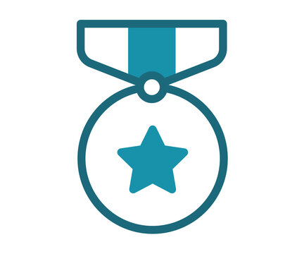 medal award achievement single isolated icon with solid line style