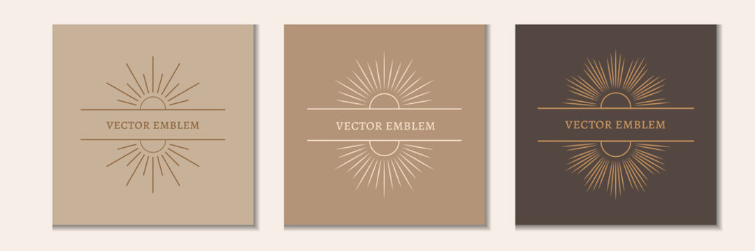 A set of linear boho symbols and icons. Social media templates for the sun logo in a minimalist style. Vector, space for text