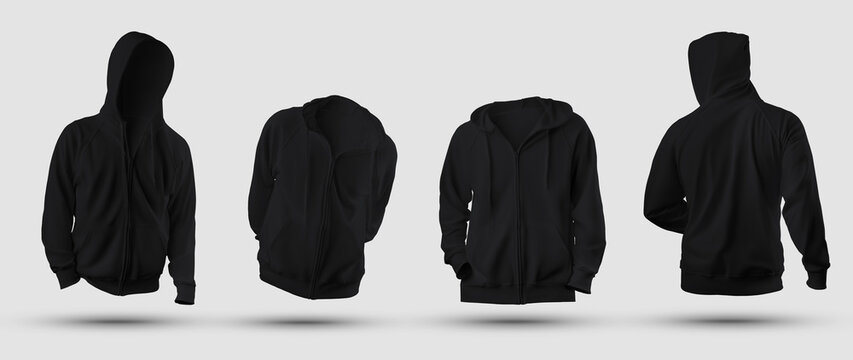 Set of mockups of black 3D rendering hoodie with zipper fastener, pocket, blank sweatshirt isolated on background, front, back view.