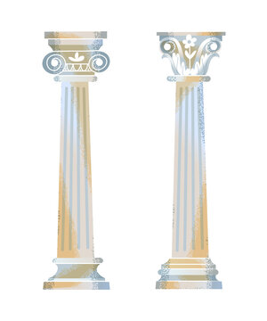 Two Ancient Roman or Greek column set. Decorative architecture elements for temple, cathedral, museum or building vector illustration. Antique sculpture on white background