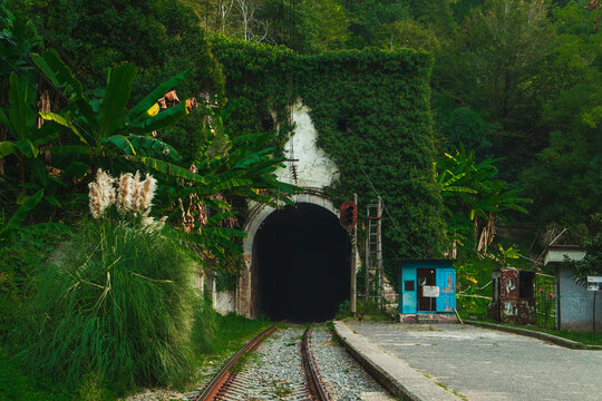 The picturesque abandoned railway station Psyrtskha in autumn.