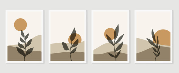 Canvas Prints White Mountain and Botanical wall art vector set. Earth tones landscapes wallpaper. Oasis Tropical backgrounds collection with mountain, sand, palm,Twigs leaf, moon or sun. Vector illustration.