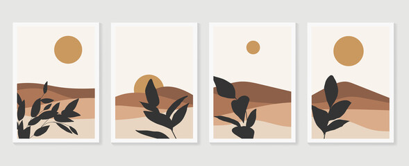 Fototapeta Mountain and Botanical wall art vector set. Earth tones landscapes wallpaper. Oasis Tropical backgrounds collection with mountain, sand, palm,Twigs leaf, moon or sun. Vector illustration. obraz