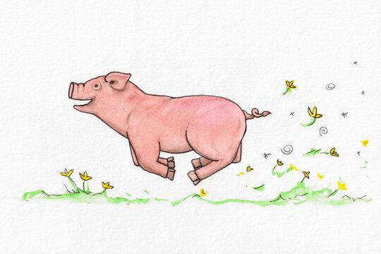 funny piggy having joy of life