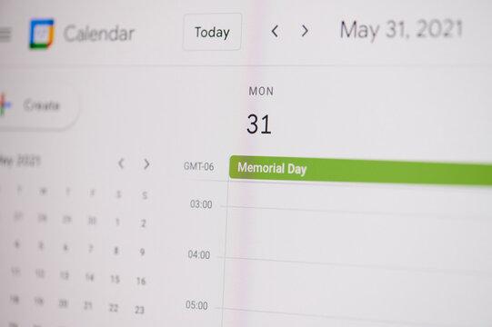 Memorial day 31 of may on google calendar