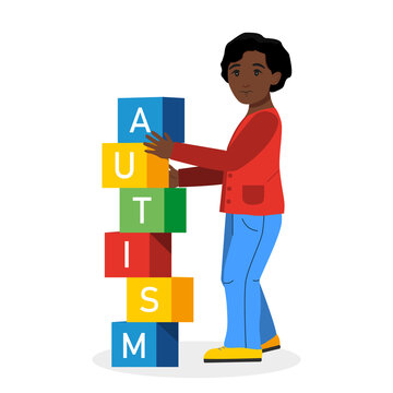 Autism concept. Afro american child stacks cubes with text. Vector illustration in cartoon style.