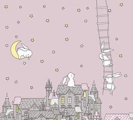 kids wallpaper pink background abstraction rabbit