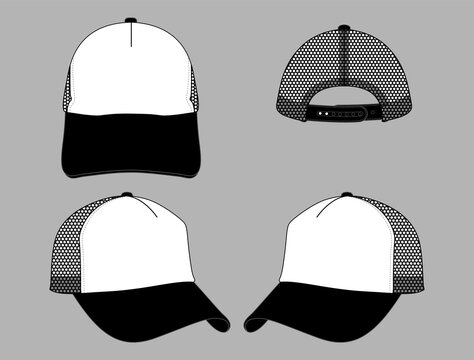 Two Tone Trucker Mesh Cap Design Black-White With Adjustable Snap Back Vector.