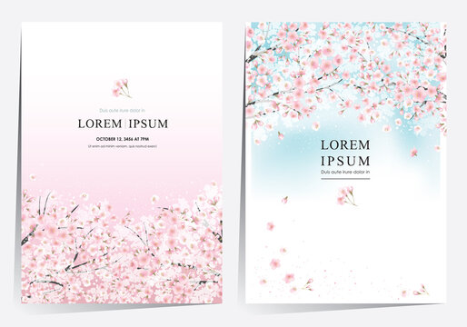Vector editorial design frame set of spring landscape with cherry trees in full bloom. Design for social media, party invitation, Print, Frame Clip Art and Business Advertisement and Promotion
