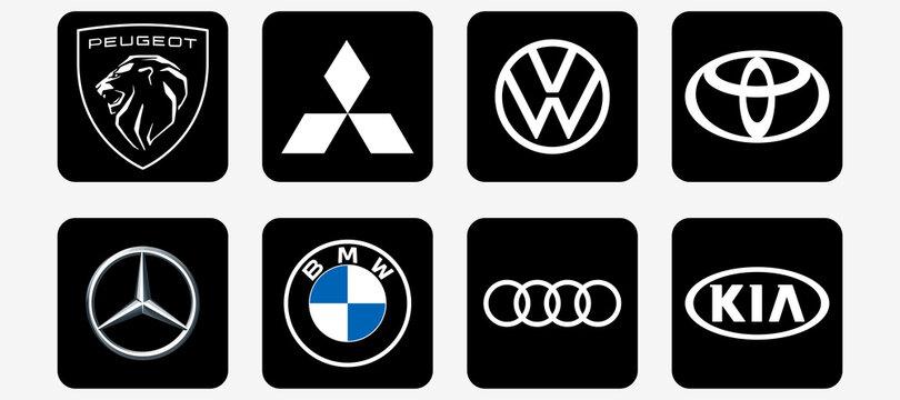 New Peugeot logo 2021. Mercedes, bmw, mitsubishi, vw, toyota, audi and kia. Editorial vector. New Peugeot auto logo. Rivne, Ukraine - February 26, 2021.