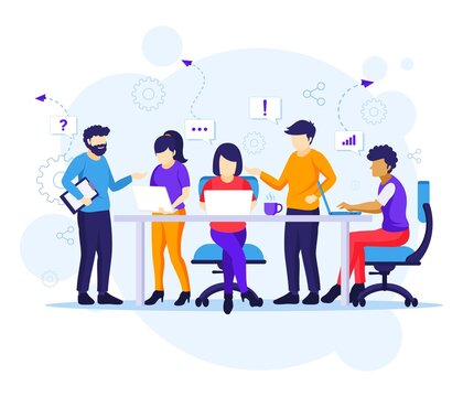 Business teamwork concept, people working in table meeting and the co working office illustration