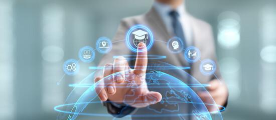 Fototapeta Online education internet learning e-learning concept on digital interface. obraz