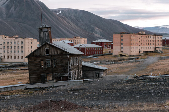Abandoned fire department and ruined houses in the Ghost Town of Pyramiden, Svalbard