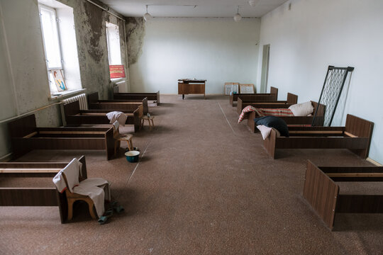 Abandoned class bedroom in a school in the Ghost Town of Pyramiden, Svalbard