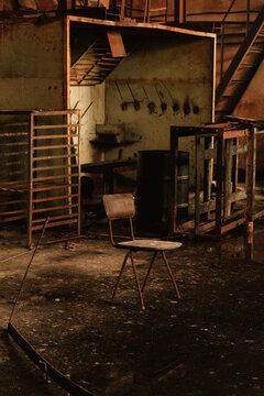 Abandoned break room in a metal workshop in the Ghost Town of Pyramiden, Svalbard