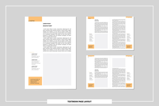 a4 text book page layout template. concept of author self publishing. editable spreadsheet with facing pages, body text, headlines and footnotes for definitions. vector