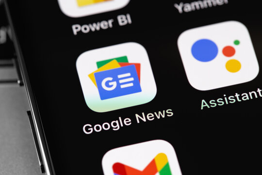 Google News mobile app icon on screen smartphone, iPhone closeup. Google News is a free news aggregator. Moscow, Russia - February 16, 2021