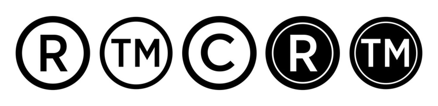 Registered trademark logo icon. Copyright mark symbol icon eps 10