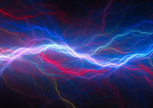 Blue electrical background, cool fractal abstract