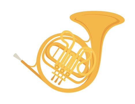 Classical French horn musical instrument with flowing musical notes flat vector illustration