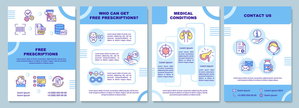Free prescription brochure template. Medical condition. Flyer, booklet, leaflet print, cover design with linear icons. Vector layouts for magazines, annual reports, advertising posters