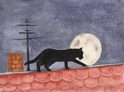 Lonely Black  Cat at spring romantic love, look for pair on roof at  moon  night. Picture illustration like in book postcard watercolor paint art sketch