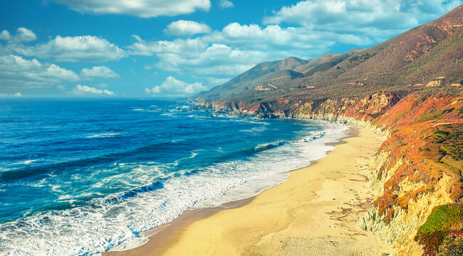 Aerial view from a drone, beautiful coastal landscape on Pacific Highway 1, traveling south to Los Angeles, Big Sur, California. Concept, vacation, tourism