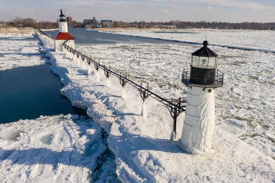 St. Joseph Lighthouse Aerial in Winter