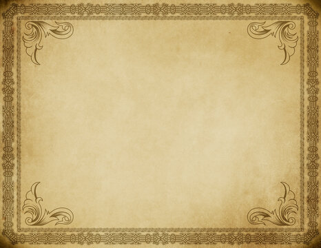 Old grunge paper with ornamental border.
