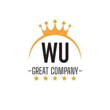 Initial Letter WU King Design Logo Concept, King Logo.