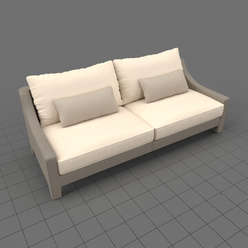Loveseat sofa with cushions 2