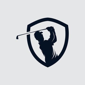 Golf player Logo design vector template. Elite Luxury Gold Golf club