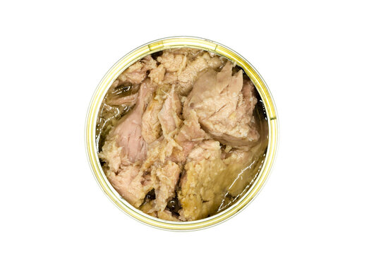 Canned tuna isolated on white background top view