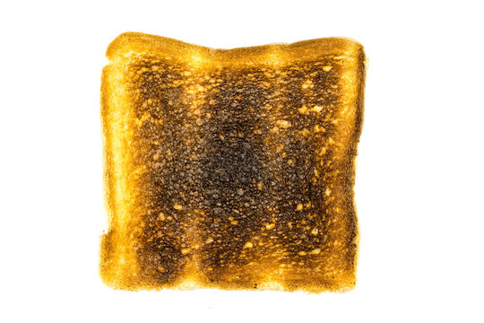 Toast bread burnt isolated on white background top view