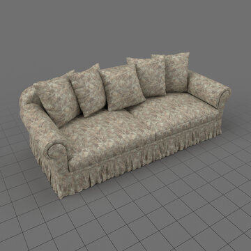 Sofa with five cushions