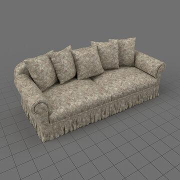 Sofa with five cushions