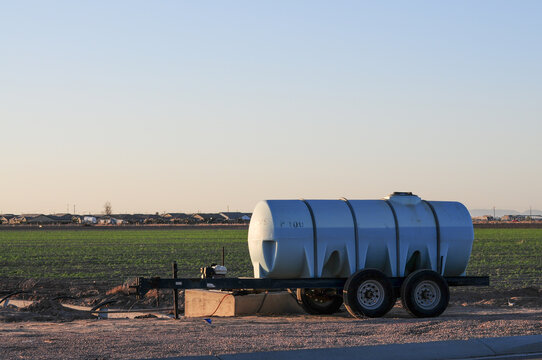 Agricultural water tank trailer at farm