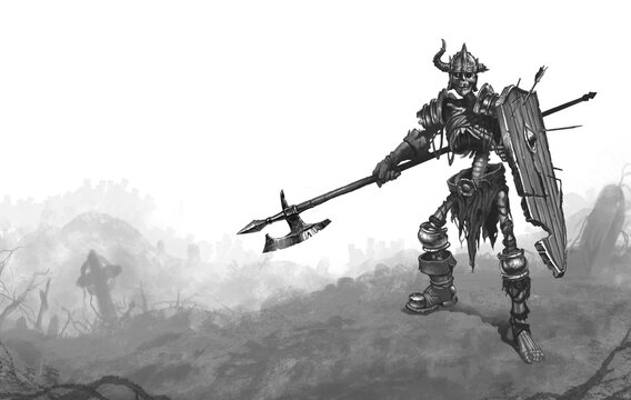 Skeleton halberd warrior and shield sketch illustration isolate black white. Dead warrior on the background of the cemetery.