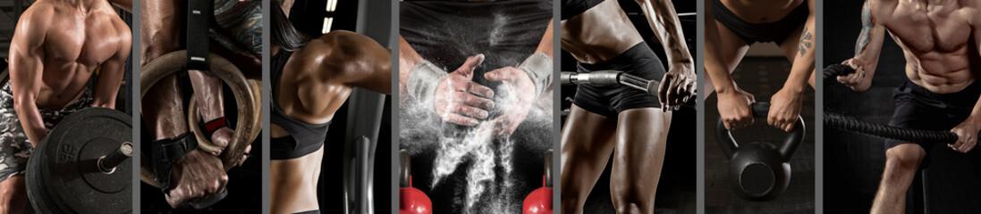 Sport collage. Concept of fitness motivation, bodybuilding, sport