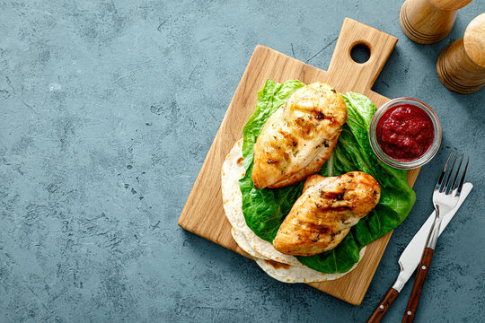 Chicken breast grilled and cranberry sauce