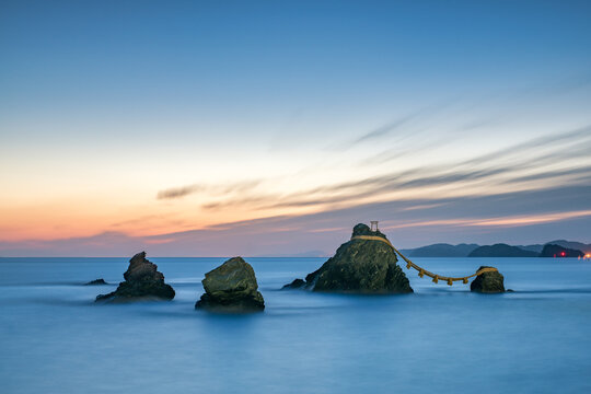 Meoto Iwa Rocks near Futami, Mie Prefecture, Japan