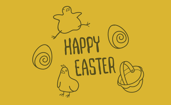 happy easter doodles of cute chicks and eggs and hand drawn lettering