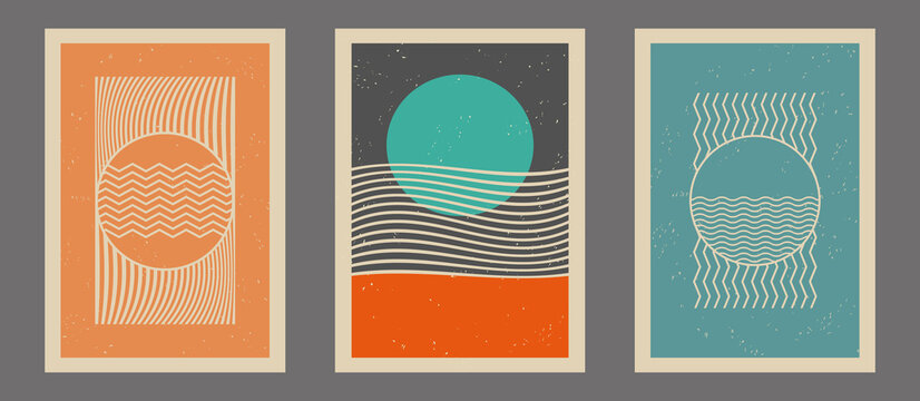 Vintage, retro art prints, posters set with lines, stripes and circle elements. Art template for wall decoration, brochure cover, background, banner, postcard. Contemporary, modern art. Art pattern.