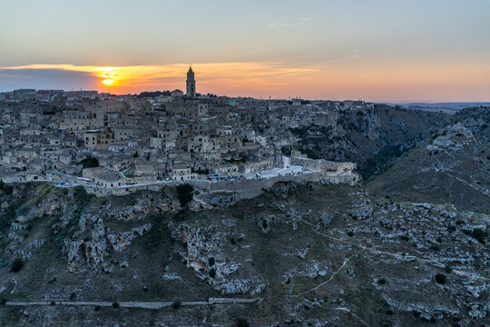 Scenic sunset over the ancient city of Matera in Basilicata region, southern Italy