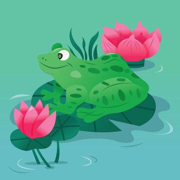 Cartoon Spotty Green Frog